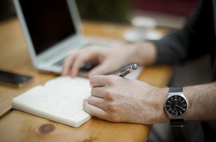 empleos, computador, mano, reloj, hombre