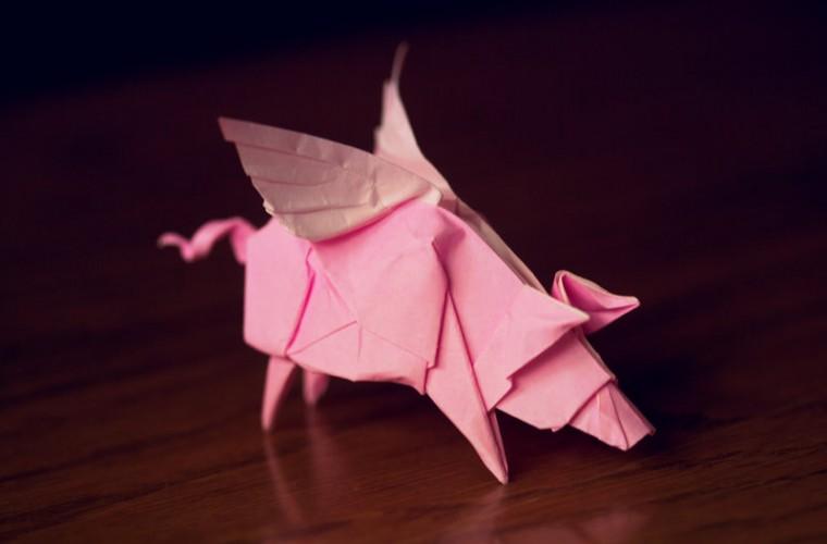 origami cerdo volador, rosa, papel doblado, cambiar de trabajo
