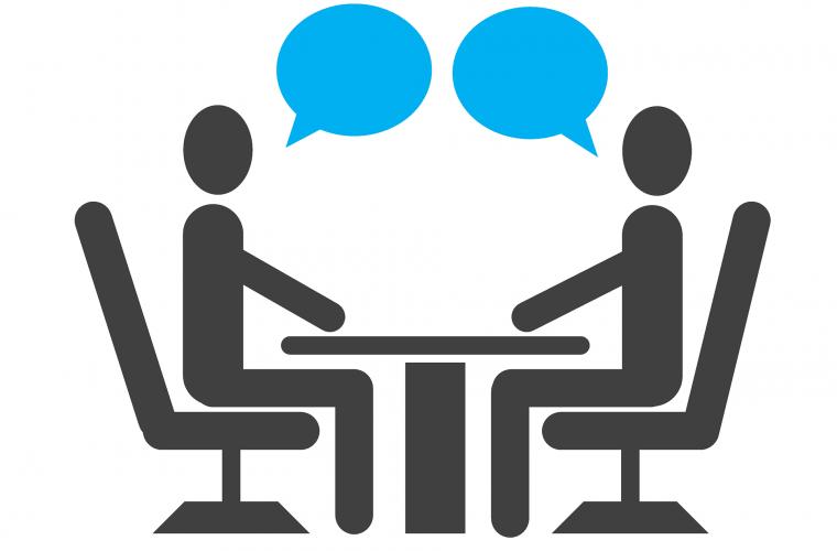 entrevista de trabajo, iconos, pictograma, hablando, personas