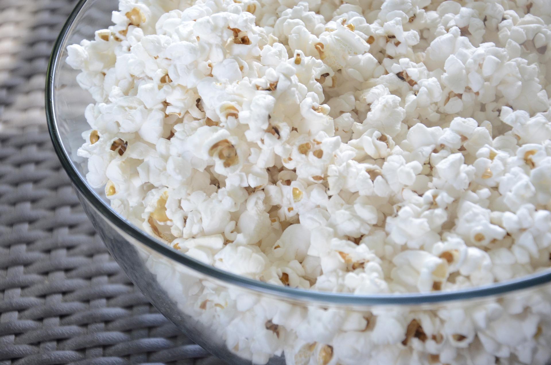 palomitas, películas, tazón, palomitas de maíz