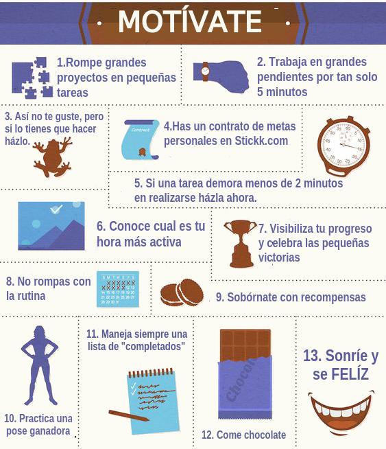 infografía, motivación laboral, mandamientos de la motivación laboral, tips para mantenerse motivado en el trabajo