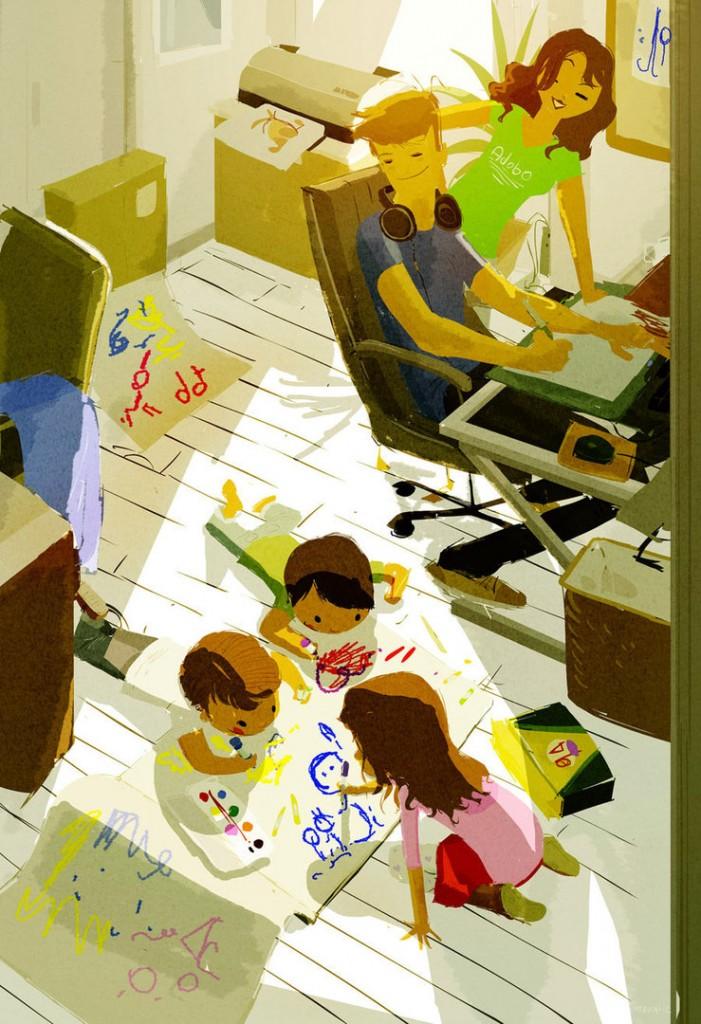 dibujos de jornada laboral, mirada artistica del trabajo, un día en el trabajo según los artistas