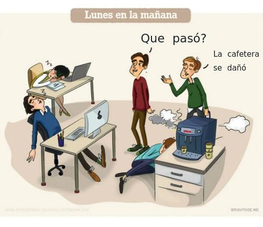 El día a día en el trabajo plasmado desde un dibujo, jornada de trabajo, dibujos sobre trabajo